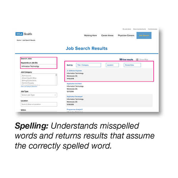 Spelling: Understands misspelled words and returns results that assume the correctly spelled word.