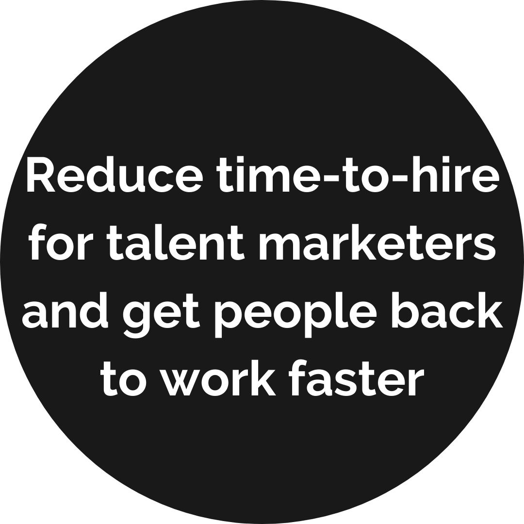 Reduce time to hire for talent marketers and get people back to work faster