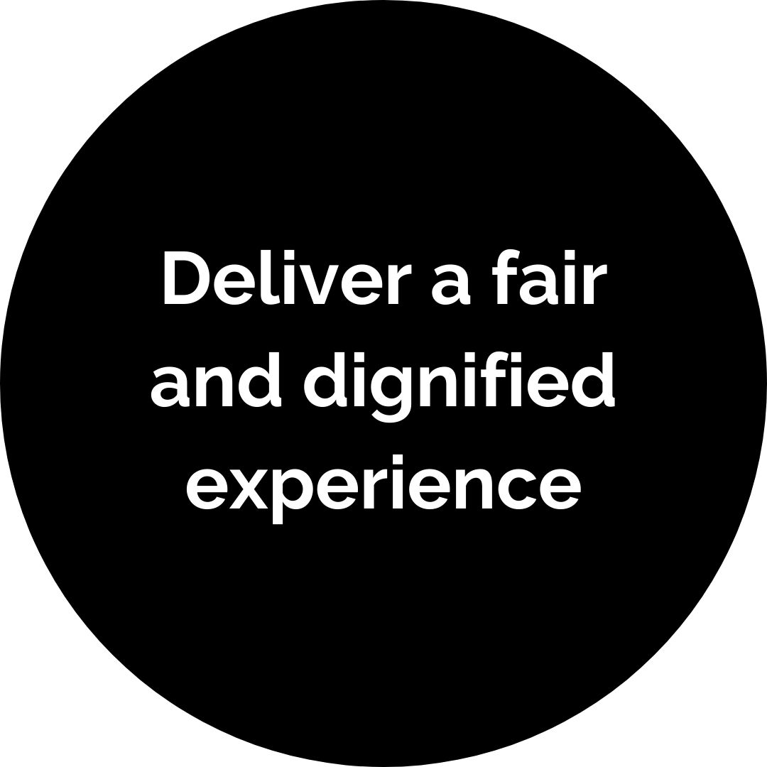 Deliver a fair and dignified experience