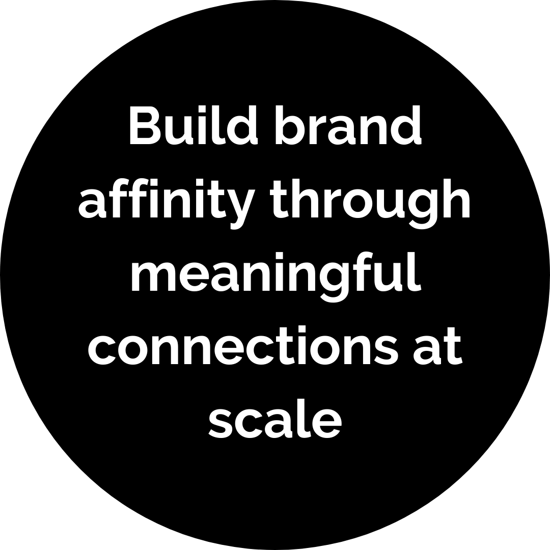 Build brand affinity through meaningful connections at scale