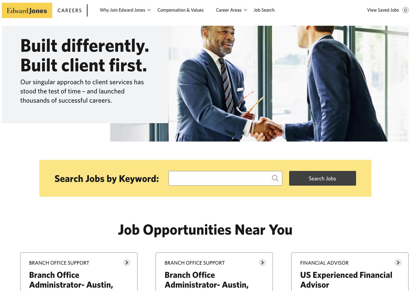 Edward Jones career site banner