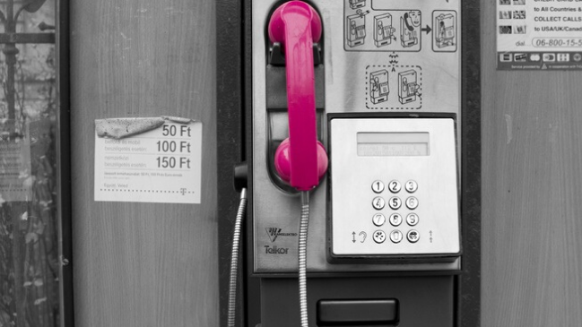 Photo of a magenta payphone at the candidate experience exhibit